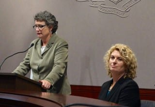 State Sen. Beth Bye and Consumer Counsel Elin Katz at the announcement of the GIG network RFQ. Photo credit: Ronni Newton