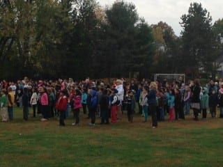 The Smith STEM school community watches the launch of the weather balloon Tuesday morning. Submitted photo.