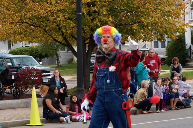 One of several clowns in West Hartford's 2014 Park Road Parade. Photo credit: Ronni Newton.