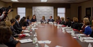 Former Congresswoman Gabrielle Giffords (center) at a roundtable discussion Thursday at Kingswood Oxford School in West Hartford. Submitted photo.