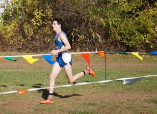 Ari Klau of West Hartford's Hall High School finished second in the New England High School Cross Country Championships on Nov. 8, 2014. Photo credit: Ronni Newton