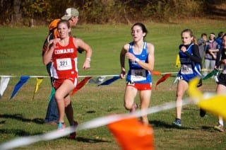 Conard sophomore Gwen Geisler of West Hartford finished 57th in the New England Cross Country Championships at Wickham Park on Nov. 8, 2014.  Photo credit: Ronni Newton