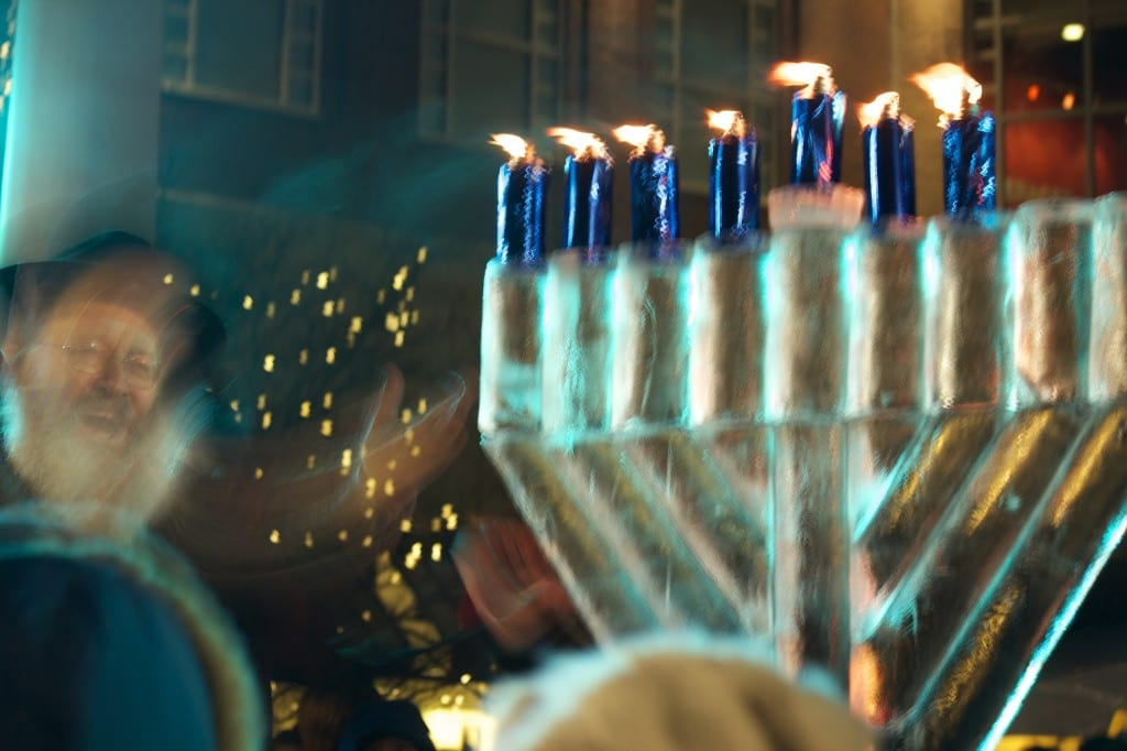 """You can see the energy in the air at the """"Fire on Ice"""" Chanukah celebration in Blue Back Square on December 21, 2014. Photo by Barbara Ricketts"""