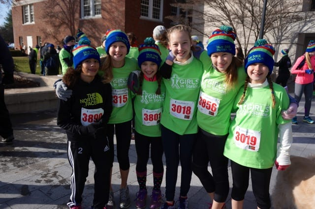 About 75 members of the Girls in Stride program ran in the Mitten Run, according to program leader Glenn Marcella. Annual Blue Back Mitten Run, West Hartford, Dec. 7, 2014. Photo credit: Ronni Newton