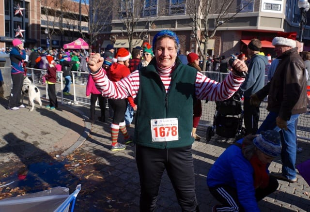 State Sen. Beth Bye was so excited about running her first race in more than 30 years. Annual Blue Back Mitten Run, West Hartford, Dec. 7, 2014. Photo credit: Ronni Newton