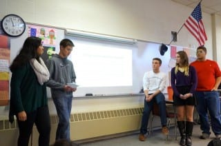 Conard students (from left) Tahreem Ali, Jacob Judd, Joe Duva, Rachel Yousman, and Leandro Pegeas led the discussion about changing the school's mascot and logo. Photo credit: Ronni Newton