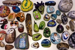These rocks were painted by all of the artists participating in 'Finders Keepers.' Photo courtesy of Julie Phillips