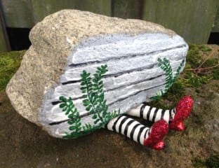 'Ruby slippers' rock, painted by Julie Phillips, is one of her favorites. Courtesy of Julie Phillips