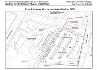 Plan for the West Hartford railway station. Courtesy of CTDOT