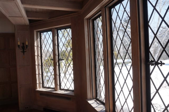 Leaded glass casement windows are found throughout the house. 2015 Junior League of Hartford Decorator Show House. Photo credit: Ronni Newton