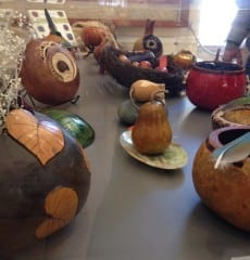 Gourd art by Marilyn Holt, on display at the Noah Webster Library for the month of February. Photo by Amy Melvin