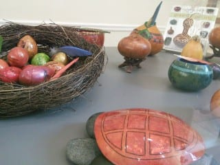 Gourd art by Marilyn Holt, on display at the Noah Webster Library for the month of February. Photo courtesy of Noah Webster Library