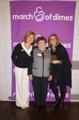 Patty Swanson (right) received the March of Dimes 2014 'Mission Triangle' Award. With her are (from left) March of Dimes State Director Deb Poudrier-Fafard and Jeanne Lattanzio of UConn Health Center. Photo credit: Ronni Newton