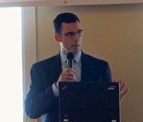 West Hartford Director of Community Services Mark McGovern gave his annual Economic Development Update at the Chamber of Commerce Luncheon on Thursday. Photo credit: Ronni Newton