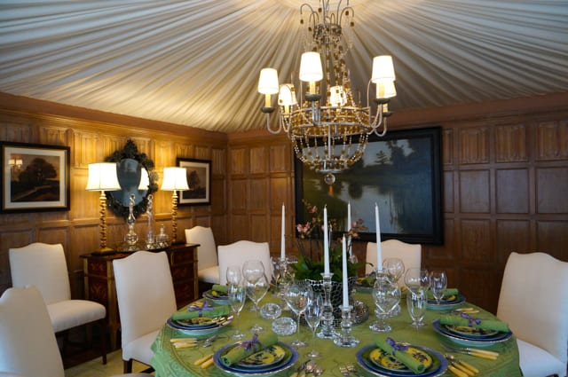 Robin Jones from LCR designed the dining room with a dramatic ceiling made from tented, shirred fabric. 2015 Junior League Decorator Show House. Photo credit: Ronni Newton