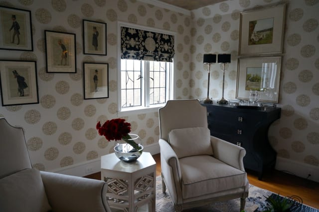 Bruce Valicenti's Thibaut-inspired bedroom. 2015 Junior League Decorator Show House. Photo credit: Ronni Newton