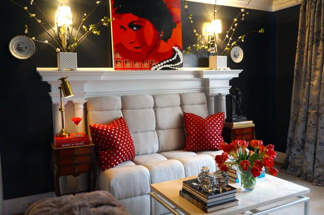 Sal Modifica's sophisticated lounge. 2015 Junior League Decorator Show House. Photo credit: Ronni Newton