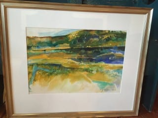 This impressionistic watercolor of the Farmington Valley will be auctioned at the War of the Words on April 24. Submitted photo