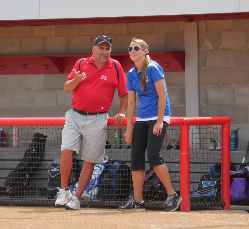 Conard and Hall head coaches Tom Verrengia and Danielle Dickman talk before the Mayor's Cup game. Submitted photo