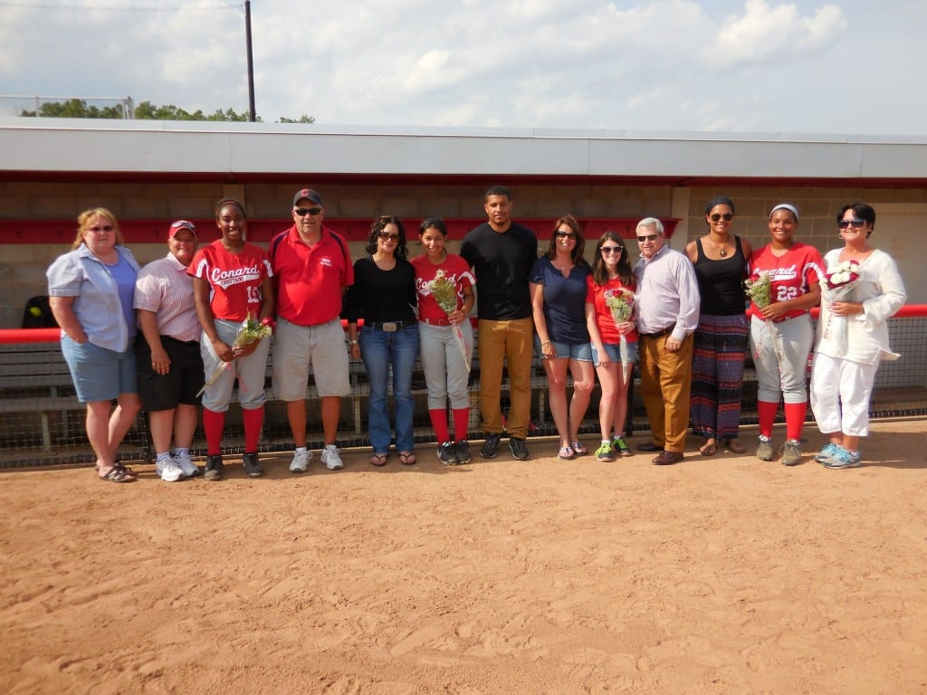 Seniors Callie Murphy, Daija Merced, Lily Reisner and Keleigh Brown were honored before the game as part of Conard's Senior Day celebration. Submitted photo