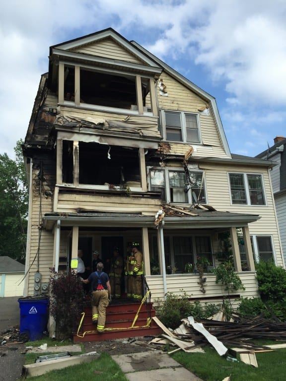 No injuries were reported in a fire that damaged a multi-family home at 198-200 S. Quaker Lane, West Hartford. Photo credit: John Lyons