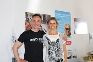 Lene Bruun (right) with Cycling Without Age founder Ole Kassow. Courtesy photo