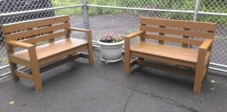 Gregory Donovan built and donated these two benches to the West Hartford Dog Pound. Submitted photo.