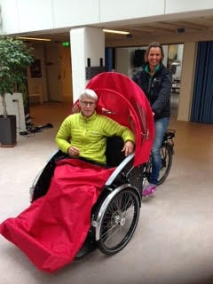 Lene Bruun training as a Cycling Without Age pilot in Denmark. Courtesy photo