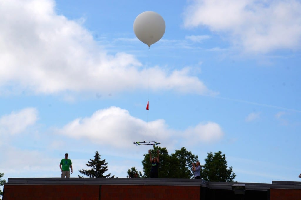 The Smith STEM weather balloon is launched from the school's field. Photo credit: Ronni Newton