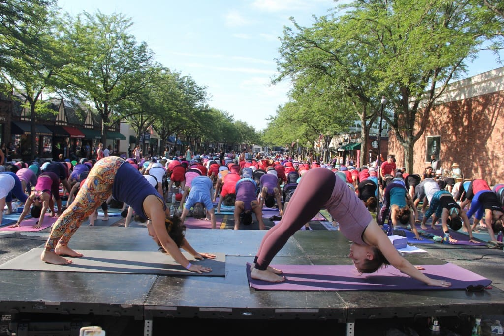 Om Street 2015, presented by West Hartford Yoga on LaSalle Road, July 25, 2015. View of LaSalle Road from Farmington Ave.  Photo by Amy Melvin