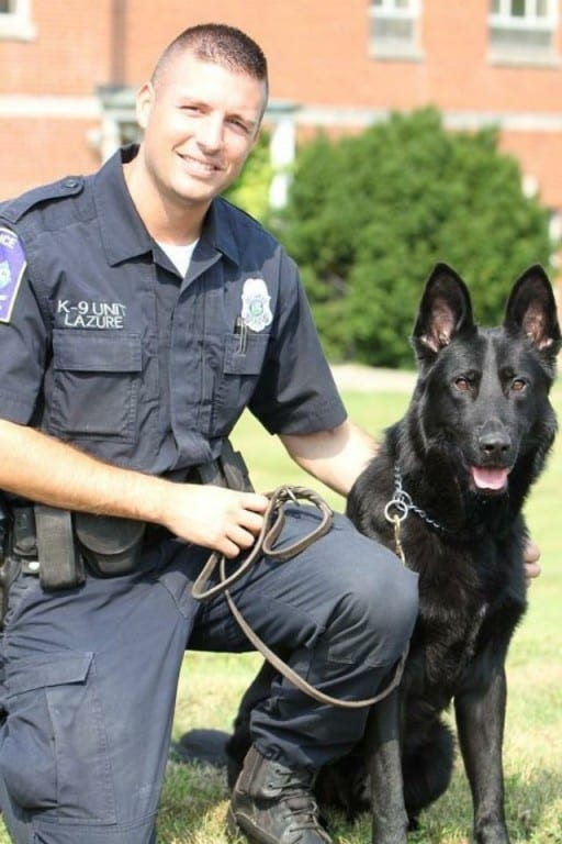 Officer Tom Lazure and K-9 Jett have been named the Federal Law Enforcement Officer's Association K-9 Hero of 2014. Photo courtesy of Off. Lazure