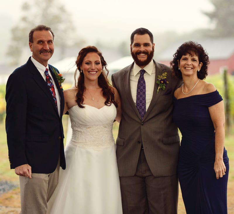Brie and Nick Wolf with Nick's parents Joe (step dad) and Sharon DeLuca. Photo by Paul and Krystal McNearney.