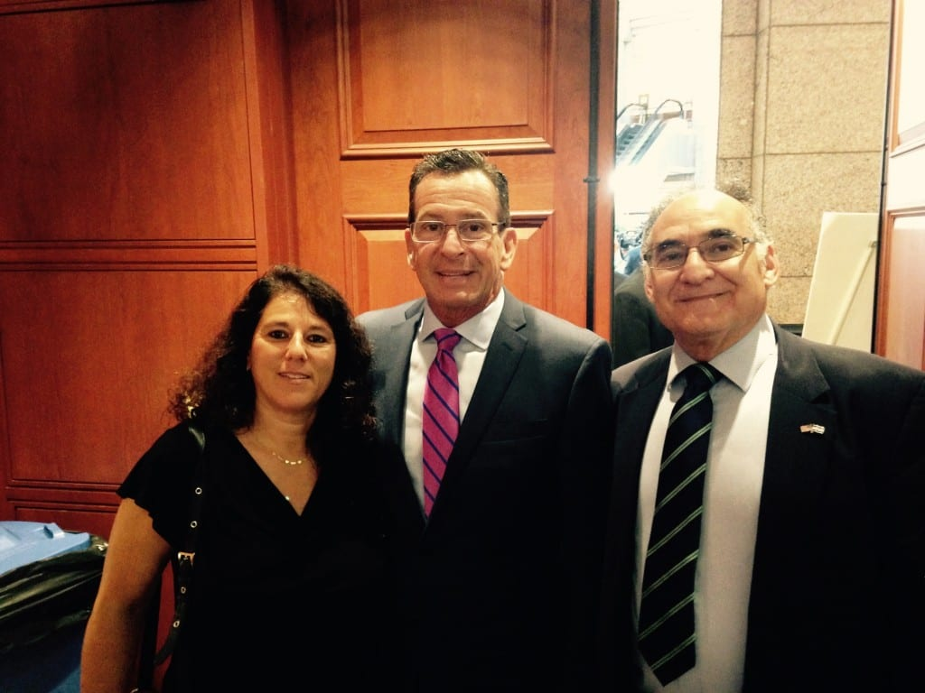 From left: Ronit Shoham, Gov. Dannel P. Malloy, Robert Fishman. Submitted photo