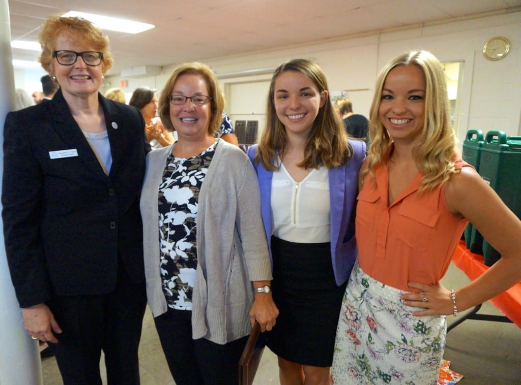 BlumShapiro partner Lori Budnick (second from left) with Bridge Executive Director Margaret Hann (far left) and daughters Caitlin and Kelsey Budnick. Photo credit: Ronni Newton