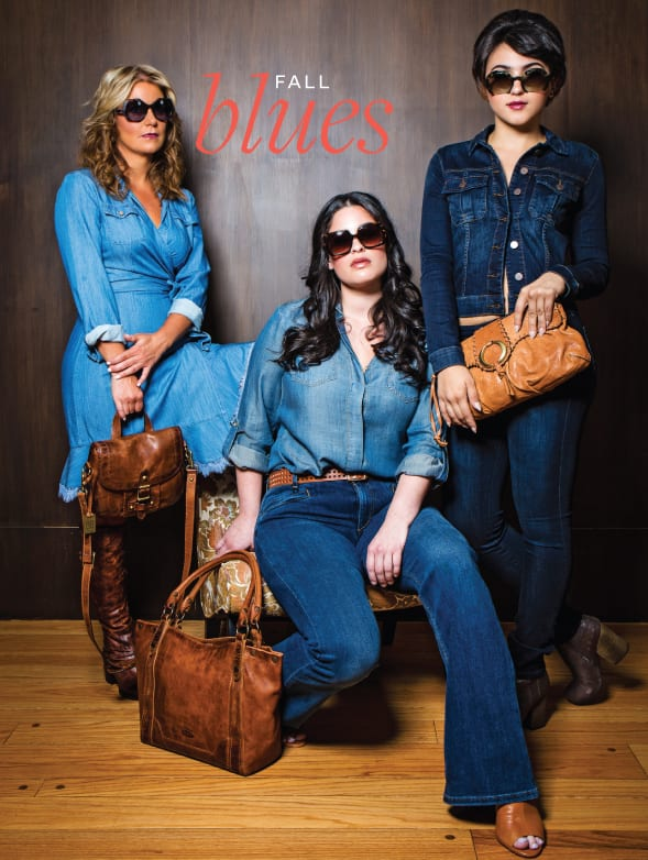 From far left: Chambray wrap dressDVF $429, Kimberly Boutique.Theo by Tim Van Steenbergen sunglasses $425, Central Optica. Frye handbags $358 and $378,Lyn Evans for Potpourri Designs. Chambray shirt, Tribal, $59, BK& Co.Flawless flare denimJoesJeans $198, belt Gerard Darel $164, all from Kimberly Boutique. Denim jacket KUT $82; stilt jeansAG$158; Hanger bootie Jeffrey Campbell $165, all from Kimberly Boutique. MiuMiusunglasses $360, Central Optica. Kooba clutch $95, Second Time Around.Photo by Tyron W. Jemison