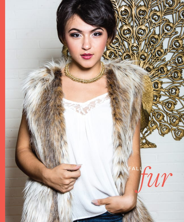 Handmade linenand brass necklace $70,Philip David Jewelers. Lace tank Superb $29,LuxBoutique. Faux fur vest Donna Salyer $129; Rocket skinny jeans Citizens of Humanity $218, all from Kimberly Boutique.Photo by Tyron W. Jemison