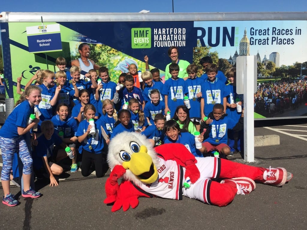 Fourth-grade students from Renbrook School in West Hartford pose after their HMF FitKids Run on Oct. 6. Submitted photo
