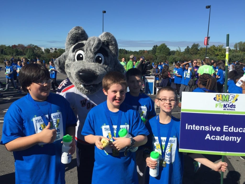 Several of the IEA students who completed the 'Fit Kids' challenge of the Hartford Marathon show off their medals. Submitted photo
