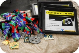 Medals are given to all LiveSTRONG at the YMCA participants. Submitted photo