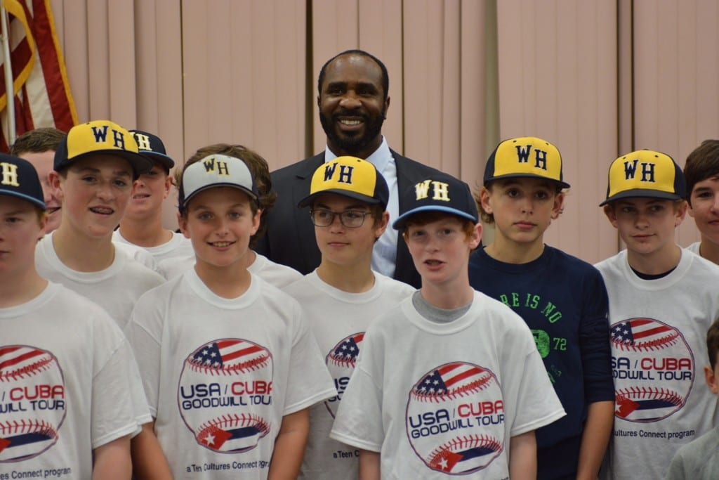 Devon White with players who will be part of thd USA/Cuba Goodwill Tour. Photo courtesy of Tim Brennan