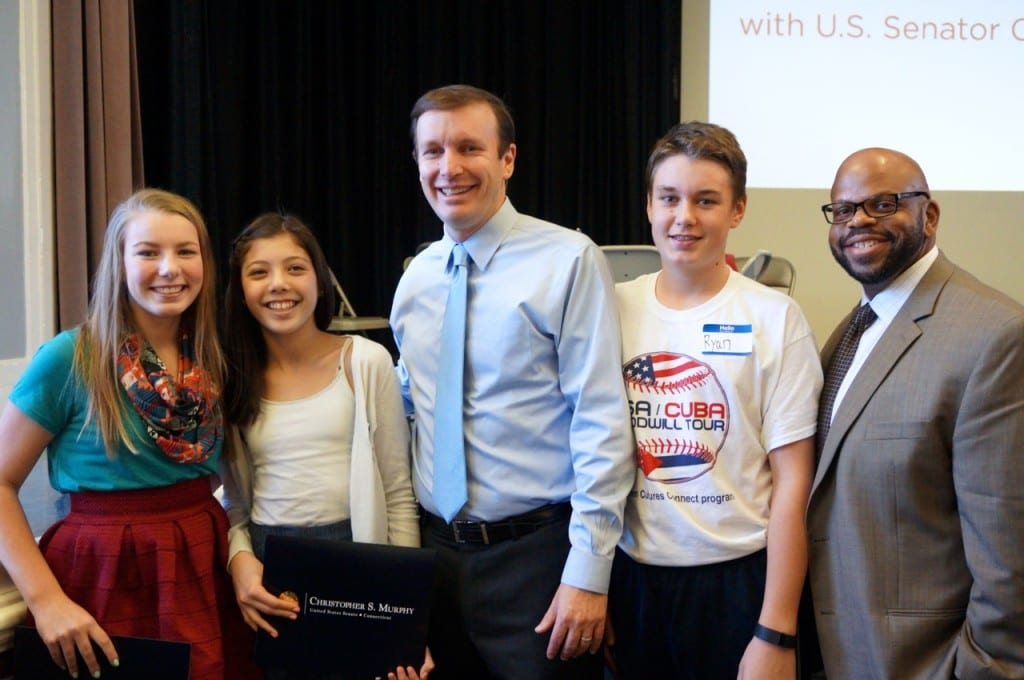 U.S. Sen. Chris Murphy poses with Bristow Middle School students and Principal Steve Cook at 'Pancakes and Politics' in West Hartford on Nov. 23, 2015. Photo credit: Ronni Newton