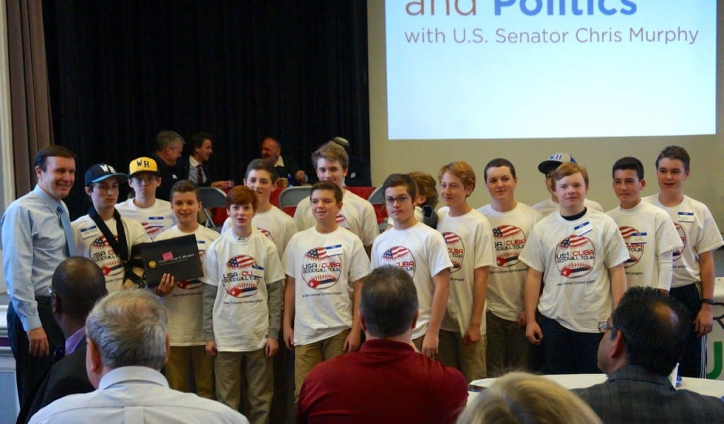 Students on West Hartford's U-14 baseball team which will travel to Cuba in April 2016 were honored by U.S. Sen. Chris Murphy (far right) at 'Pancakes and Politics' in West Hartford on Nov. 23, 2015. Photo credit: Ronni Newton