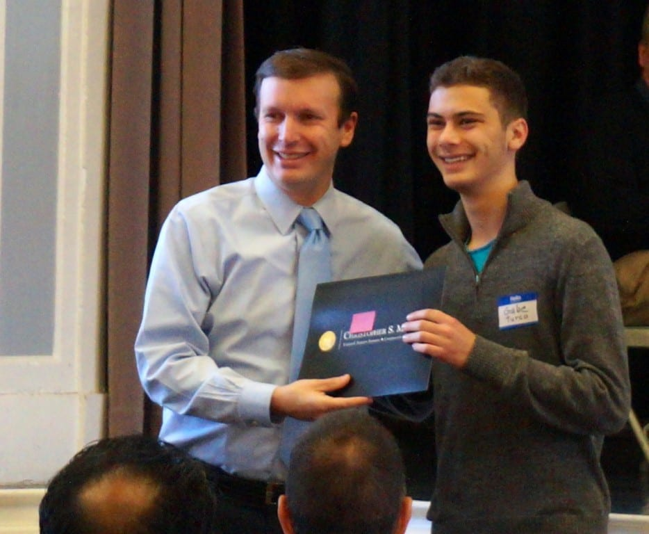 Gabe Turco, a senior at Conard High School, was one of the students recognized by U.S. Sen. Chris Murphy at the 'Pancakes and Politics' breakfast at the Elmwood Community Center, Nov. 23, 2015. Photo credit: Ronni Newton