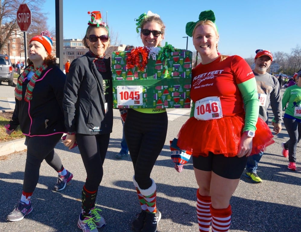 These West Hartford women came dressed in holiday attire. HMF Blue Back Mitten Run, West Hartford, Dec. 6, 2015. Photo credit: Ronni Newton