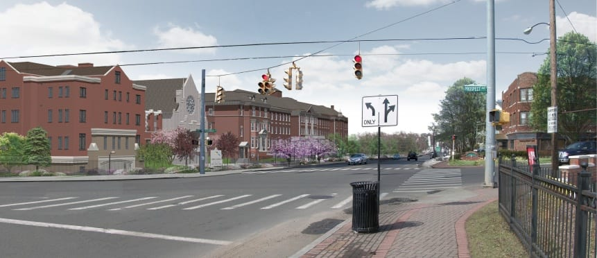Schematic of Arcadia Crossing looking west along Park Road. Courtesy image