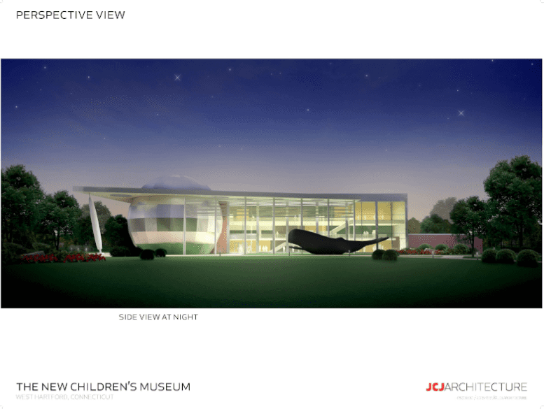 View of one of the proposed options for The New Children's Museum building on the UConn West Hartford property. Image courtesy of The New Children's Museum