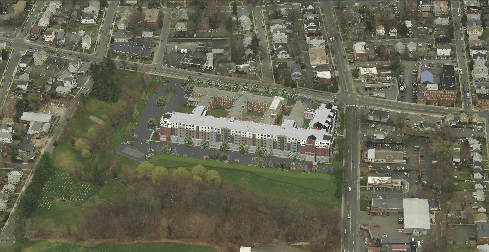 Overhead view of proposed Arcadia Crossing project. Courtesy image