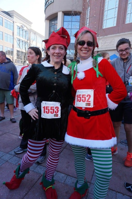 Many runners chose festive costumes. These two women created elf shoes out of their running sneakers. HMF Blue Back Mitten Run, West Hartford, Dec. 6, 2015. Photo credit: Ronni Newton