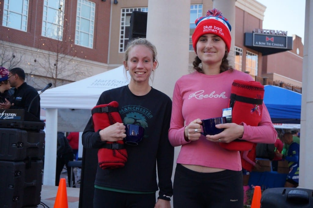 Second place female Emma Perron of West Hartford (right) and third place female finisher Ashley Gurzler of Manchester. HMF Blue Back Mitten Run, West Hartford, Dec. 6, 2015. Photo credit: Ronni Newton