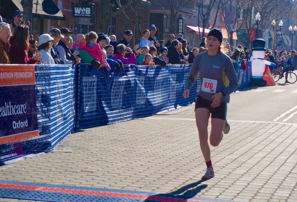 Emma Perron of West Hartford was the second female finisher. HMF Blue Back Mitten Run, West Hartford, Dec. 6, 2015. Photo credit: Ronni Newton